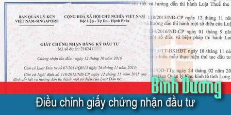 (Tiếng Việt) Điều chỉnh giấy phép đầu tư tại Bình Dương