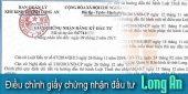 (Tiếng Việt) Điều chỉnh giấy chứng nhận đầu tư tại Long An