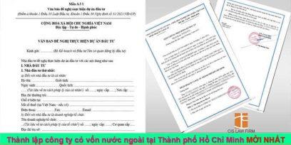 (Tiếng Việt) Thành lập công ty có vốn nước ngoài tại Thành phố Hồ Chí Minh mới nhất