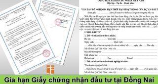 (Tiếng Việt) Gia hạn giấy chứng nhận đầu tư tại Đồng Nai