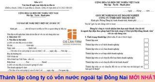 (Tiếng Việt) Thành lập công ty có vốn nước ngoài tại Đồng Nai mới nhất